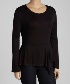 Loving this Black Ruffle Long-Sleeve Top - Plus on #zulily! #zulilyfinds