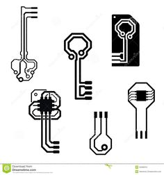 Photo about Vector circuit board keys for data security icons - 34280312
