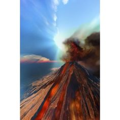 A volcano comes to life with smoke and lava Canvas Art - Corey FordStocktrek Images (12 x 18)