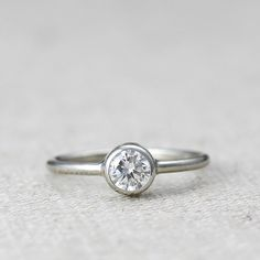 14k gold and diamond engagement ring // by AndreaBonelliJewelry.