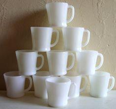 11 Vintage White Milk Glass Mugs Coffee Cups Fire King - Treasury Item