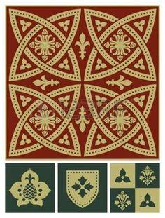 edad media: Edad media ornamentar conjunto