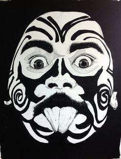 MAORI serie .Ink + acrylic on Canson paper 65x50 cm #maori #ink #tatto #moko #polinesia