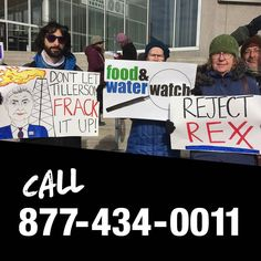Call 877-434-0011 now to block Tillerson Sessions Pruitt and all of Trump's Big Business Bullies from cabinet positions. #rejectREX  TODAY Rex Tillerson former ExxonMobil CEO is in front of Senators being considered for our Secretary of State.So isJeff Sessions the Alabama Senator who in addition to having a horrible record on civil rights helped pave the way for the Halliburton loophole that exempts fracking from federal regulations. And the hearing forScott Pruitt the Oklahoma Attorney…