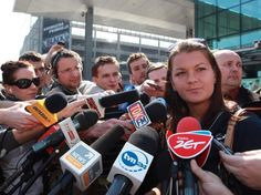 Agnieszka Radwanska arrives in Poland and is swarmed by media at the airport after her Miami Masters win.  April 2012.  #tennis
