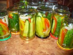 Ogórki z papryką po amerykańsku Kimchi, Preserves, Food Inspiration, Cucumber, Stuffed Peppers, Canning, Vegetables, Recipes, Chilli