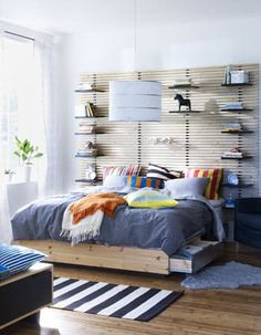We don't need a headboard but we've been eyeing the Mandal at Ikea for a while. We like it, as it's shown here, stacked three high…