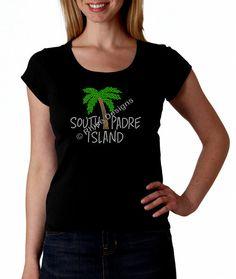 South Padre Island Spring Break RHINESTONE T-Shirt or tank top S M L XL 2X by RhineDesigns, $24.95