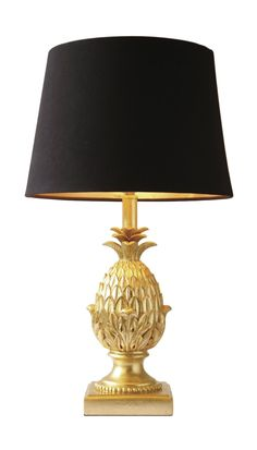 Gold Pineapple lamp & black lampshade - Houseoflights