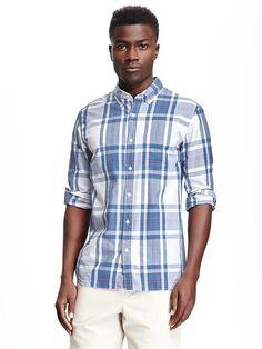 Regular-Fit Classic Plaid Shirt for Men Product Image