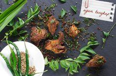 Indonesian Medan Food: Ayam Tangkap ( Curried Fried Chicken )