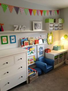 prints from showler&showler (uk). love the colourful bunting. Looks like Ikea picture ledges and ikea trofast storage used.