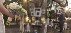 Rustic Elegance- Burlap and Lace- White Fall Wedding- Hanging frames  Designed by Weddings By Mary Beth  Flowers by The Garden Gate Florist  Photography by Holly Robbins Photography