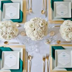 Gold + Teal Modern Tablescape