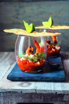 Chilli and Pernod-spiked tomatoes with feta and griddled prawns #Foodplating
