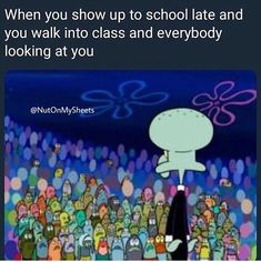 I find this too funny 😂😂 the class is a whole audience ready to hear an explanation to your lateness😭😭chilee Best Memes, Dankest Memes, Funny Memes, Jokes, Funny Cute, The Funny, Hilarious, Real Facts, True Facts