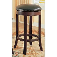 @Overstock - Create the relaxing atmosphere of an English pub in your own home with these barstools  Attractive swivel barstools provide sturdy comfort  Furniture boasts solid hardwood frames in a rich cherry finishhttp://www.overstock.com/Home-Garden/Dark-Cherry-Finish-Swivel-Barstools-Set-of-2/3366854/product.html?CID=214117 $146.99