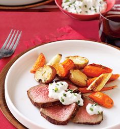 potatoes, parsnips, carrots, rosemary, olive oil, beef (center-cut eye of round roast), garlic, nonfat plain Greek yogurt, horseradish, white wine vinegar, chives or parsley