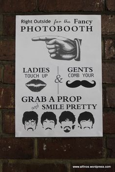 Beatles inspired photo booth sign, 60s party