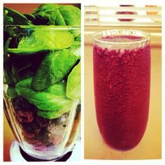 Triple Berry Monster Smoothie (strawberry, raspberry, blueberry) w/ spinach & honey