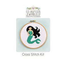 This cross stitch kit features my original pattern of a cute mermaid and includes the following materials:  -- Pattern (example photo, floss list, and