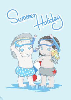Summer Holiday baby Steve & Bucky fanart by SilasSamle