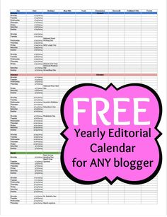 FREE Yearly Editorial Calendar for ANY blogger