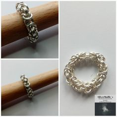 Sterling Silver 925 Chainmaille Ring Byzantine #ByzantinePattern #ByzantineMaille #HandmadeGift #ByzantineRing #HandmadeJewelry #GiftForHer #SilverRing #VikingChainmail #MadeInNorway #HandmadeRing Handmade Jewelry, Unique Jewelry, Handmade Gifts, Chain Mail, Byzantine, Jewelry Making, Sterling Silver, Bracelets, Rings