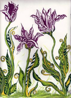 """""""Tangled Tulips"""" a Doodle using Copic Pens And Copic Markers By: Lynne Howard"""