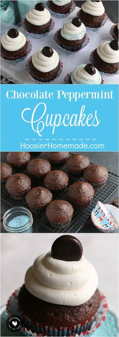 These Chocolate Peppermint Cupcakes are bursting with flavor! A simple chocolate cake mix is turned into a luscious holiday treat. And then if that's not enough, topped with Buttercream Peppermint Frosting.