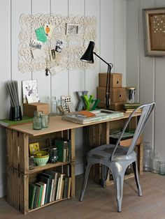 DIY desk from wine crates