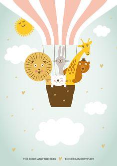 Download gratis deze deurposter! Zet naam het kindje in de wolk   The birds and the Bees via Kinderkamerstylist.nl