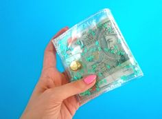 Turquoise wallet Iridescent Glitter wallet Business by YPSILONBAGS