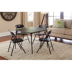 5-Piece Folding Table and Chair Set,Multiple Colors,Home Furniture,Kitchen, Dining Set, Compact Set of Furniture, Made of Durable Steel Frame, Seating for 4,Table,Chairs, BONUS e-book (Black)