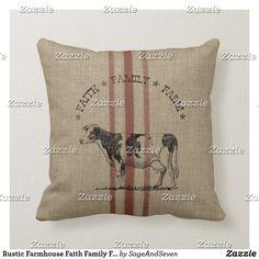 Shop Rustic Farmhouse Faith Family Farm Pig Throw Pillow created by SageAndSeven. Custom Pillows, Decorative Throw Pillows, Pig Farming, Pillow Fight, Grain Sack, Silk Pillow, Farmhouse Chic, Rustic Design, Country Decor