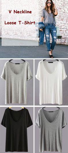 dd5ec1fa3140 V Neckline Loose T-Shirt Stitch Fix Outfits