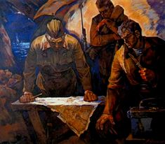 """""""In Stalingrad Trenches"""" A.Prokopenko  Soviet WWII Paintings - fighting the Germans."""