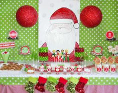 "This super festive and oh-so-CLEVER holiday dessert table was inspired by the popular kids Christmas carol ""Here Comes Santa Claus"" and dreamed up by Christmas Party Snacks, Xmas Party, Christmas Goodies, Christmas Baby, Christmas Holidays, Christmas Crafts, Christmas Buffet, Pj Party, Christmas Ideas"