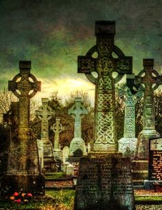 Celtic Crosses at Killanny Graveyard, County Louth, Ireland - photo by Declan O'Doherty