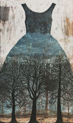 Kirsi Neuvonen - Aarnimetsä  Paper Dress painting with bare trees .  distressed wood