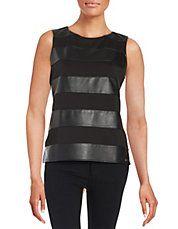 Leatherette Striped Blouse