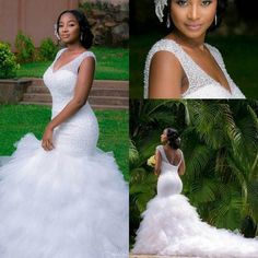 299.00$  Buy now - http://vifxd.justgood.pw/vig/item.php?t=ajmpvd829217 - Luxury Beading Mermaid Wedding Dresses Sexy Deep V Neck Bridal Gowns Custom Made
