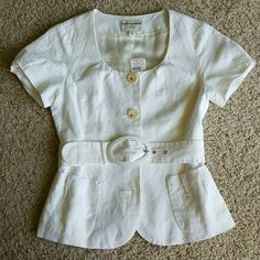 Banana Republic Short sleeve jacket 58% linen, 42% cotton. Ruffled sleeves and pockets, belt is removable.  Size says 0Petite, it would fit a slim 2 Banana Republic Tops Blazers