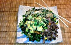 Raw Kale Shitake Mushroom Salad tastes great garnished with avocado, scallons and mushrooms.Party Vegan Style with 10 Summer Recipes Perfect for Picnics, Parties or Cookouts