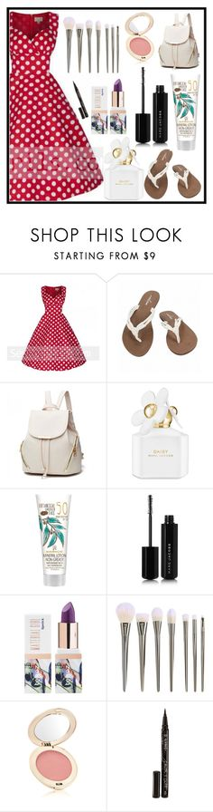 """""""sevengrils"""" by merisa-imsirovic ❤ liked on Polyvore featuring Volcom, Marc Jacobs, Teeez, Jane Iredale, Smith & Cult and vintage"""