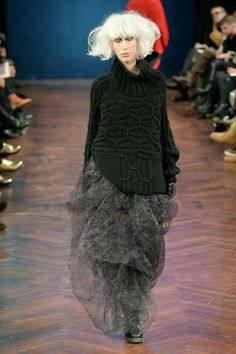 : Ivan Grundahl AW14 : Copenhagen Fashion Week - - - wear simple black or black and grey and go crazy with big white hair