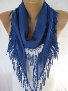 BIG SALE OFF Elegant  Cotton Scarf with Trim Edge by MebaDesign, $7.90