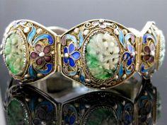 Qing Dynasty Jade (Jadeite) Chinese Cloisonne Silver Filagree Bracelet.
