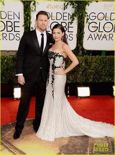 Channing Tatum & Jenna Dewan - Golden Globes 2014 Red Carpet   Jenna is wearing a Roberto Cavalli