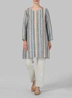 MISSY Clothing - Linen Long Sleeve Slip-On Shift Dress